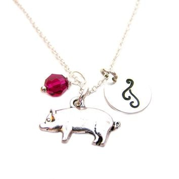 Pig Charm Swarovski Birthstone Initial Personalized Sterling Silver Necklace / Gift for Her - Pig Necklace