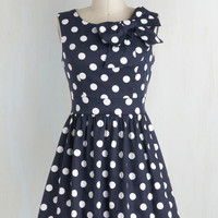 Pinup Short Length Sleeveless Fit & Flare The Pennsylvania Polka Dress in Navy Dots