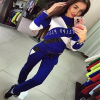 Letter Flower Pint Long Sleeves T-shirt Long Pant Two Pieces Activewear Set