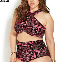 Plus Size Two Piece Swimwear Women 2017 High Waist Swimsuit High Neck Tankini African Geometric Bikini Cut Out Bathing Suits