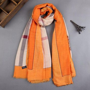 ESBU3C Fashion Women Winter Scarf Luxury Brand Letters and Stripe Printed Shawl Bandana Cotton Warm Scarves