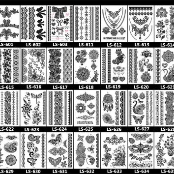 Rocooart Brand New Trendy black temporary arabic tattoo lace henna tattos sticker choker fake tattoo body flash Tattoo sticker