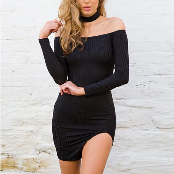 Long Sleeve Sexy Cotton One Piece Dress [9195468871]