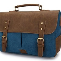 Gen Z Youth Vintage Messenger Bag, Canvas and Genuine Leather Briefcase Shoulder Laptop Bag (Blue)
