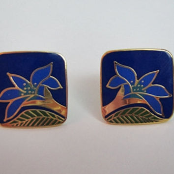 Vintage LAUREL BURCH Earrings Wild Lily Cloisonne Post Style Blue Floral