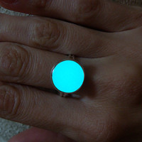 GLOW in the DARK Ring - Glowing Ring, Aqua Blue Ring, Glowing Jewelry, Glowing Circle, Glow in the Dark, Gift for Her