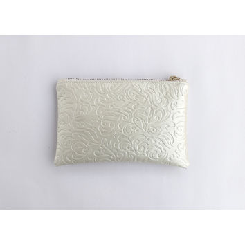 LACE EMBOSSED VEGAN LEATHER WEDDING CLUTCH