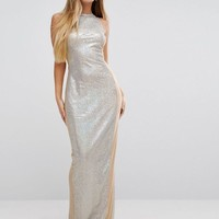 PrettyLittleThing Sequin Maxi Dress With Mesh Panels at asos.com