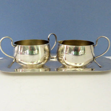 Vintage silver-plated creamer and sugar bowl with tray - E P Copper silver sugar bowl creamer set