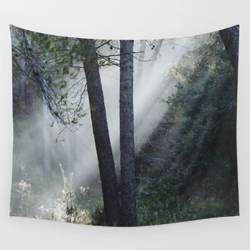 """Sunrise through the foggy forest"". Retro dreams.... Wall Tapestry by Guido Montañés"