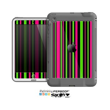 The Pink & Green Striped Skin for the Apple iPad Mini LifeProof Case