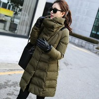 Snow wear Wadded Jacket Female 2017 Casacos Feminino Winter Jacket Women Slim Long  Cotton-Padded jacket Outerwear Winter Coat