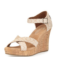 Woven Diamond Strappy Wedge Sandal, Natural - TOMS