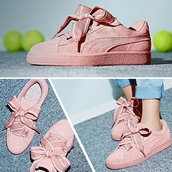 Puma Suede Heart Satin II Bow tie Sneakers Women Fashion shoes 364084-03