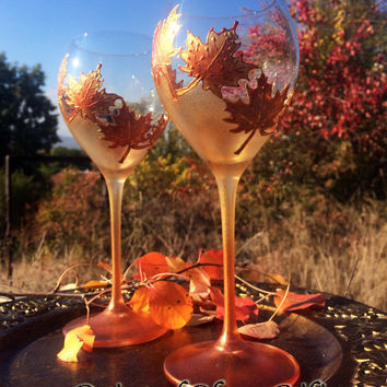Autumn wine set of 2 Maple Leaves toasting glasses in gold and copper color