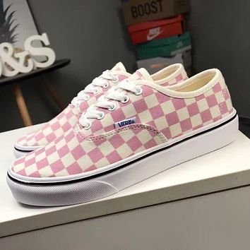 Vans Old Skool Pink White Checkerboard Pattern Canvas Flats Sneakers Sport Shoes I-CQ-YD
