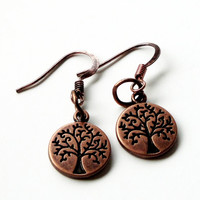 Copper Double- Sided Tree of Life Earrings Bead Of life Charm Dangles Earrings. Tree Earrings- Bridal, Wedding, Bridesmaid Gifts