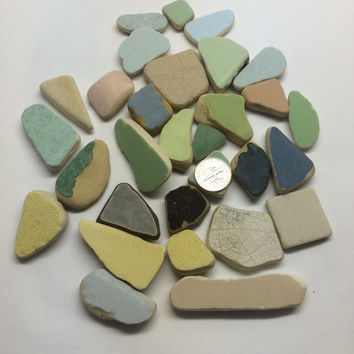 30 pieces Texas Gulf Coast Beach Tiles Galveston Texas Found texas sea supplies, sea glass pendant, beach glass jewelry, texas sea glass