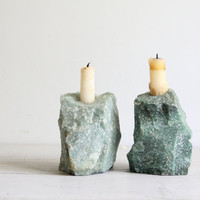 vintage green rock candle stick holders