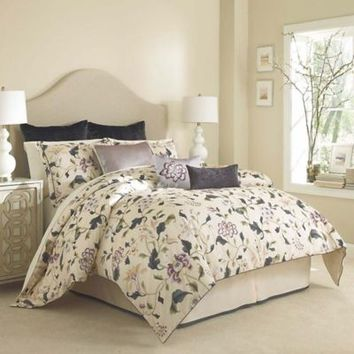 Charisma Eve Duvet Cover Set in Ink Blue/Cream