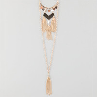 Full Tilt 2 Row Tassel Necklace Gold One Size For Women 25360062101