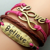 Bronze Pendants Vintage Multilayer Believe Love Letters String Chain Bracelet [grxjy5120102]