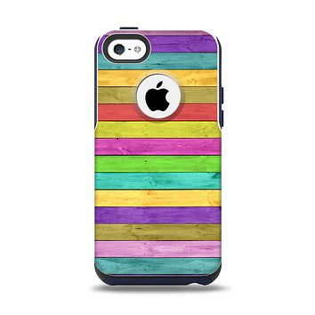 The Thin Neon Colored Wood Planks Apple iPhone 5c Otterbox Commuter Case Skin Set