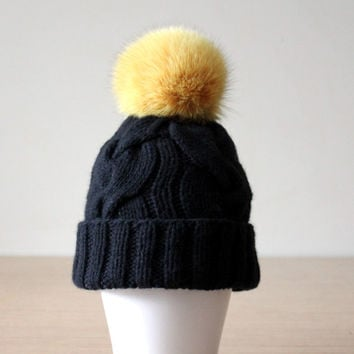 Fur pom pom hat, Womens knit hat in black, Fur bobble hat, Cable knit hat, Black hat fur pom pom, Fox fur pom pom hat