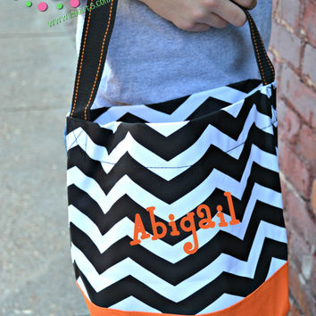 PERSONALIZED Chevron/Polka Dot Halloween Bag - Trick or Treat - Halloween Bucket
