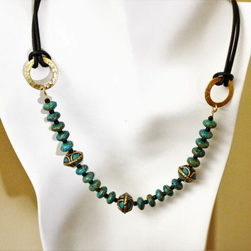 Tibetan Turquoise and Brass Large Focal Beads and Mosaic Turquoise on Leather