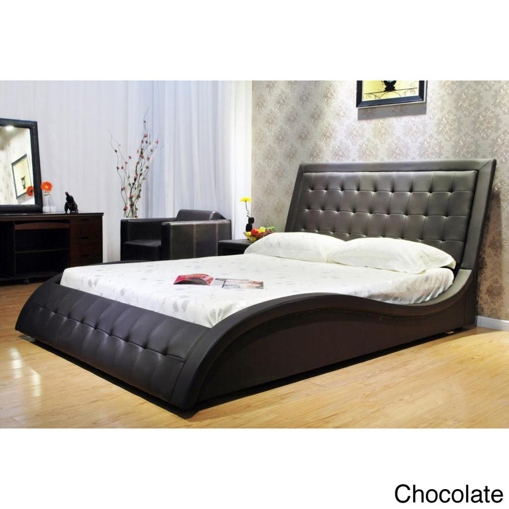 Eastern king wave like shape upholstered from overstock - Space saving king size bed ...