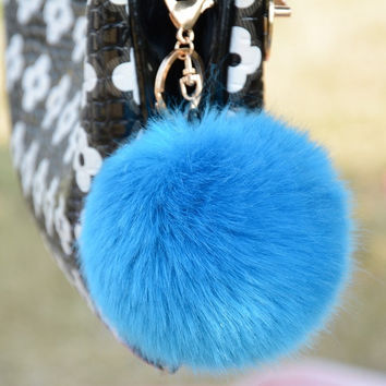 New Cute Genuine Soft Rabbit Fur Ball Handbag Key Chain Cell Phone Car Pendant = 1932133572