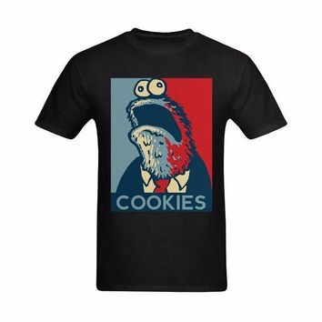 ESBON Funny T Shirts Men Summer Shirt Cotton T Shirt  Plus Size 2017 Cookie Monster Cartoon Image 100% Pure Cotton Tees O Neck