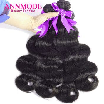 Body Wave Brazilian Hair Weave Bundles With Free Shipping A Piece Annmode Non-Remy Human Hair Extensions Can Last Longer