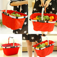 Waterproof New Foldable Eco-friendly Reusable Shopping Bags Grocery Picnic Hand Basket LS