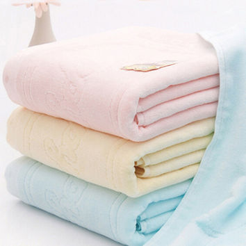 Baby bath 100% cotton 105*105cm newborn textile cotton towel cartoon baby bath towel Cotton thickened baby washcloth 3colors