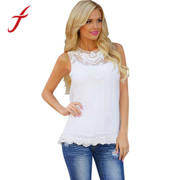 Feitong Women Summer Lace Hollow T Shirt Top