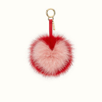 Charm in red and pink fur - POMPOM CHARM | Fendi | Fendi Online Store