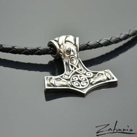 Thor's Hammer Silver Leather Pendant Necklace