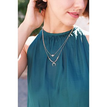 Layered Short Necklace, Gold/Grey