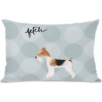 """Pup Words Fox Terrier"" Indoor Throw Pillow by April Heather Art, 14""x20"""