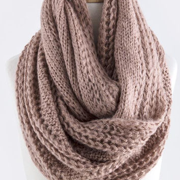 Glenda Glimmering Cable Knit Infinity Scarf (2 Colors Available)
