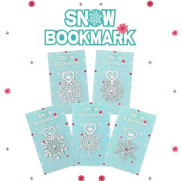 Metal snowflake bookmark silver color heart shaped paper clips for books stationery gift Christmas 5pcs/lot