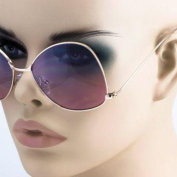 NEW Oversize Vintage Retro Style butterfly upside down Blue Purple Sun Glasses