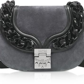 MCM Trisha Chain Phantom Grey Suede and Leather Small Shoulder Bag