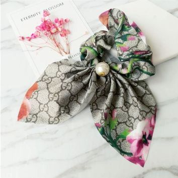 ONETOW GUCCI retro printed cloth hair ring hair simple temperament big bow knot flowers