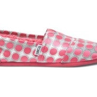 TOMS Classics Pink Dot Kids' Youth Slip-on Shoes,