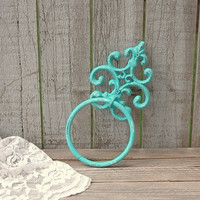 Towel Holder, Shabby Chic, Tiffany Blue, Aqua, Hand Painted, Cast Iron, Metal, Distressed, Towel Ring, Beach Decor