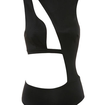 Clothing : Bodysuits : 'Malla' Black Asymmetric Cut Out Bodysuit