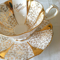 Vintage Princess Anne Fine Bone China/Made in England/Rememberance Series Wedding Anniversary Tea Cup and Saucer